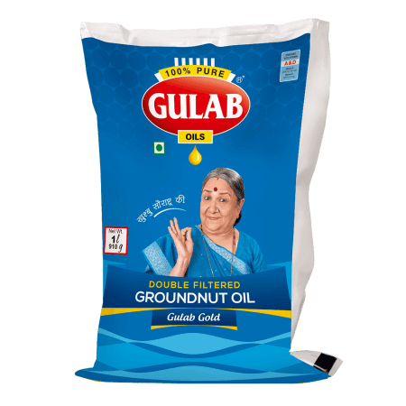 Gulab Gold Double Filtered Groundnut Oil 1 Ltr Pouch-0